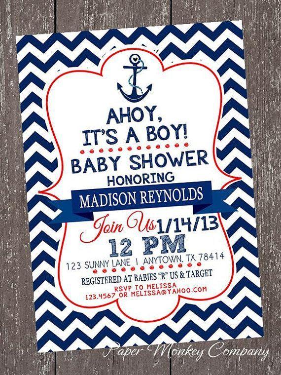 Nautical Theme Baby Shower Invitations