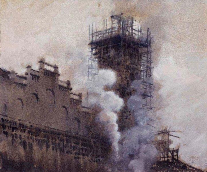 Giuseppe De Nittis - La costruzione del Trocadéro nel 1876