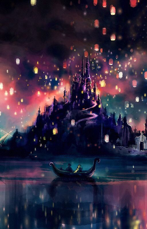 Disney tangled castle lights wallpapers disney art - Tangled wallpaper ...