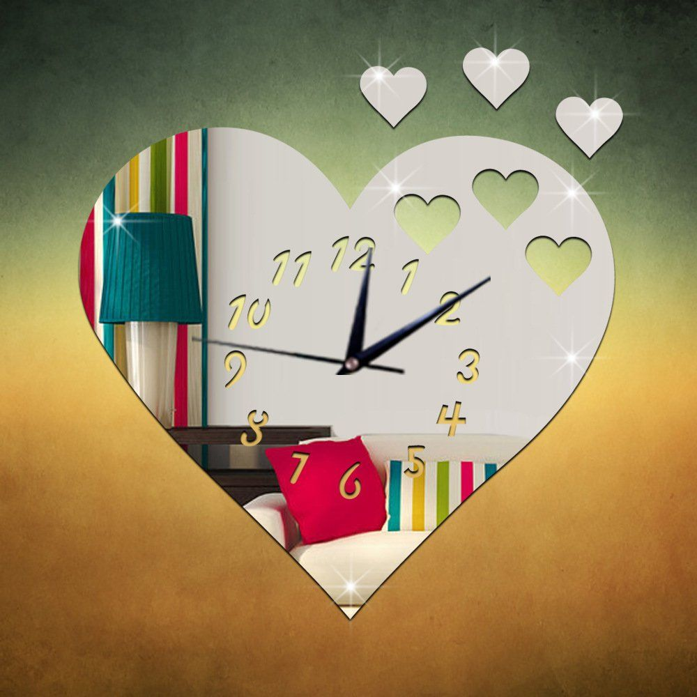 Time4deal 3d acrylic wall clock wall stickers diy roman for 3d acrylic mirror wall sticker clock decoration decor