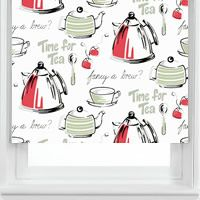 Awesome Gorgeous Red, Grey, Black, Sage U0026 White Tea Patterned Kitchen Roller Blinds  From