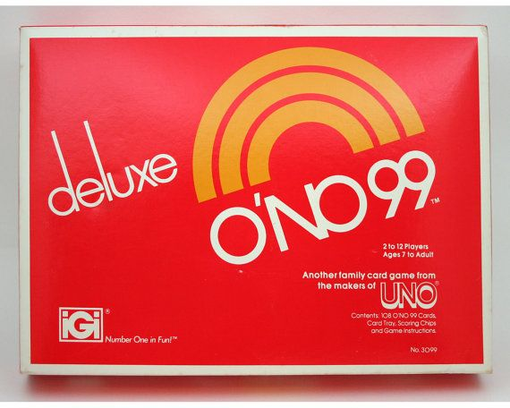 Vintage Game Deluxe Ono 99 Card Number Family Night