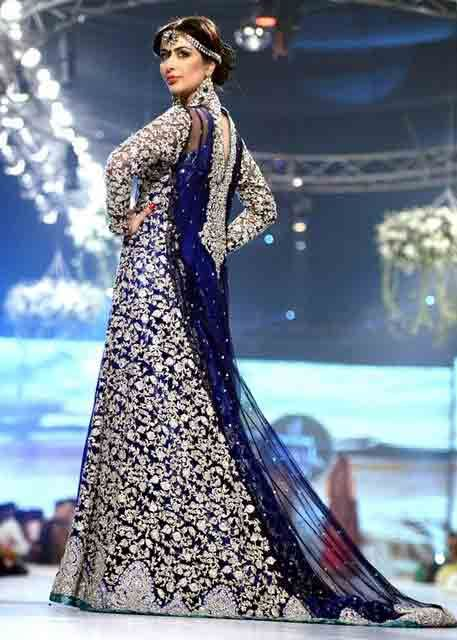 58d2746877c Navy blue and silver Pakistani bridal long tail maxi gown dress designs 2017