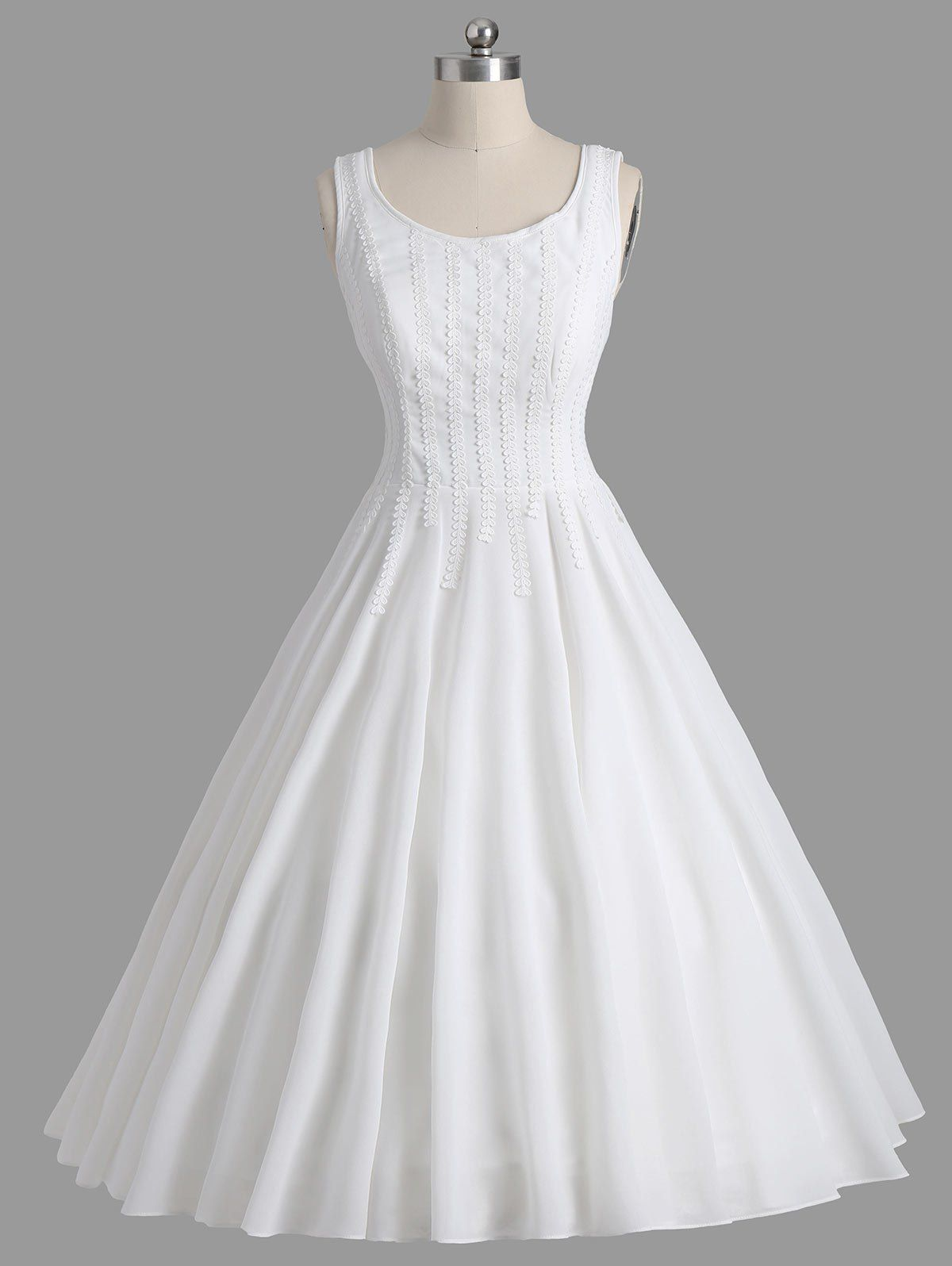 Lace Panel Sleeveless Formal 1950 Prom Dress | Kleider