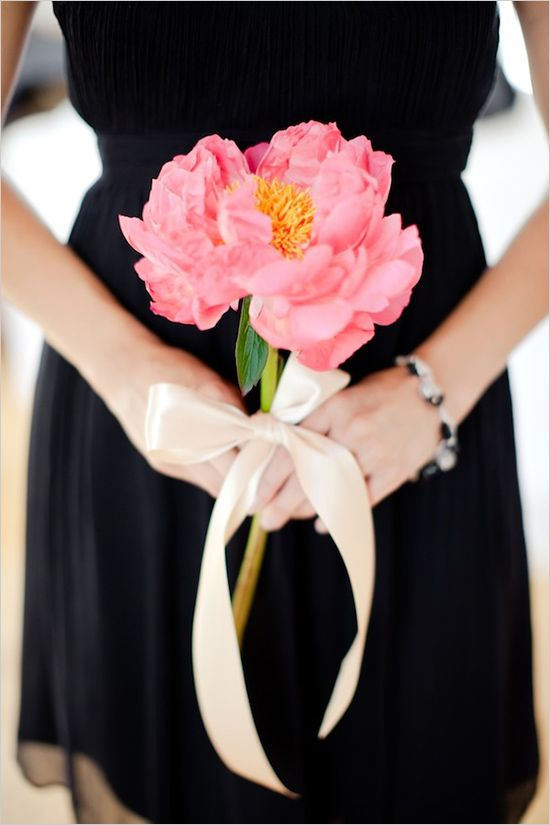 Black And Pink Malibu Wedding Simple Bridesmaid Bouquets Simple