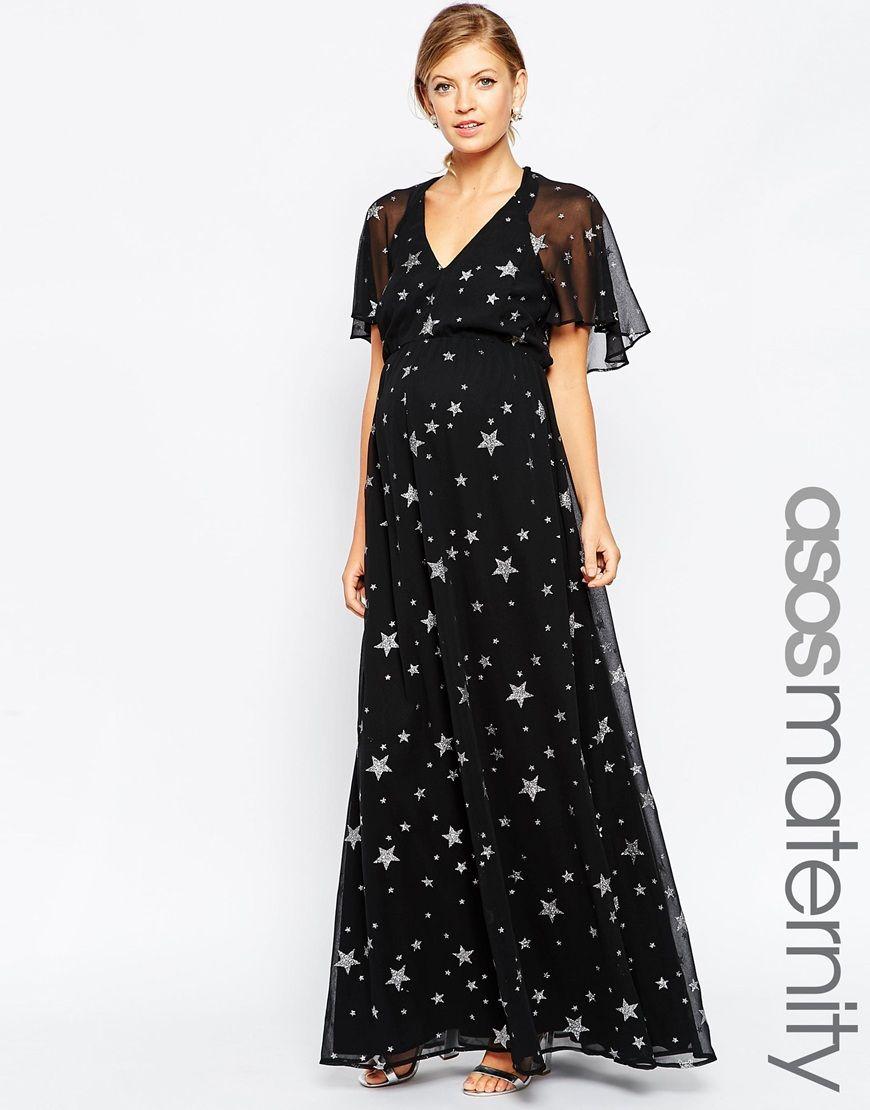 2de1816fc67 ASOS Maternity Flutter Sleeve Maxi Dress In Star Print