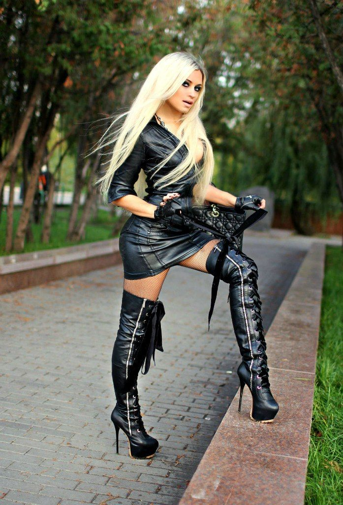 High boots leather girls Naked thigh