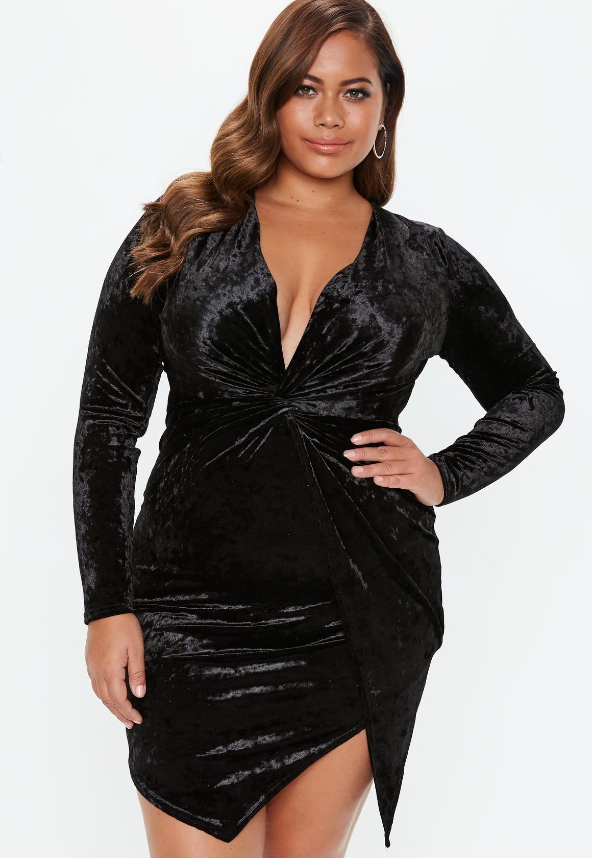 Missguided plus size black velvet twist front mini dress