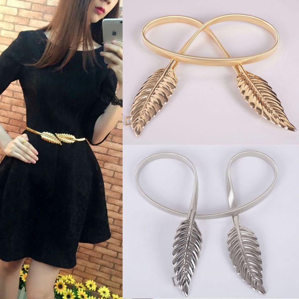 163f6fbe Mujer Metal Hojas Elástico Cintura Elástica Vestido Correa Cinturón ...