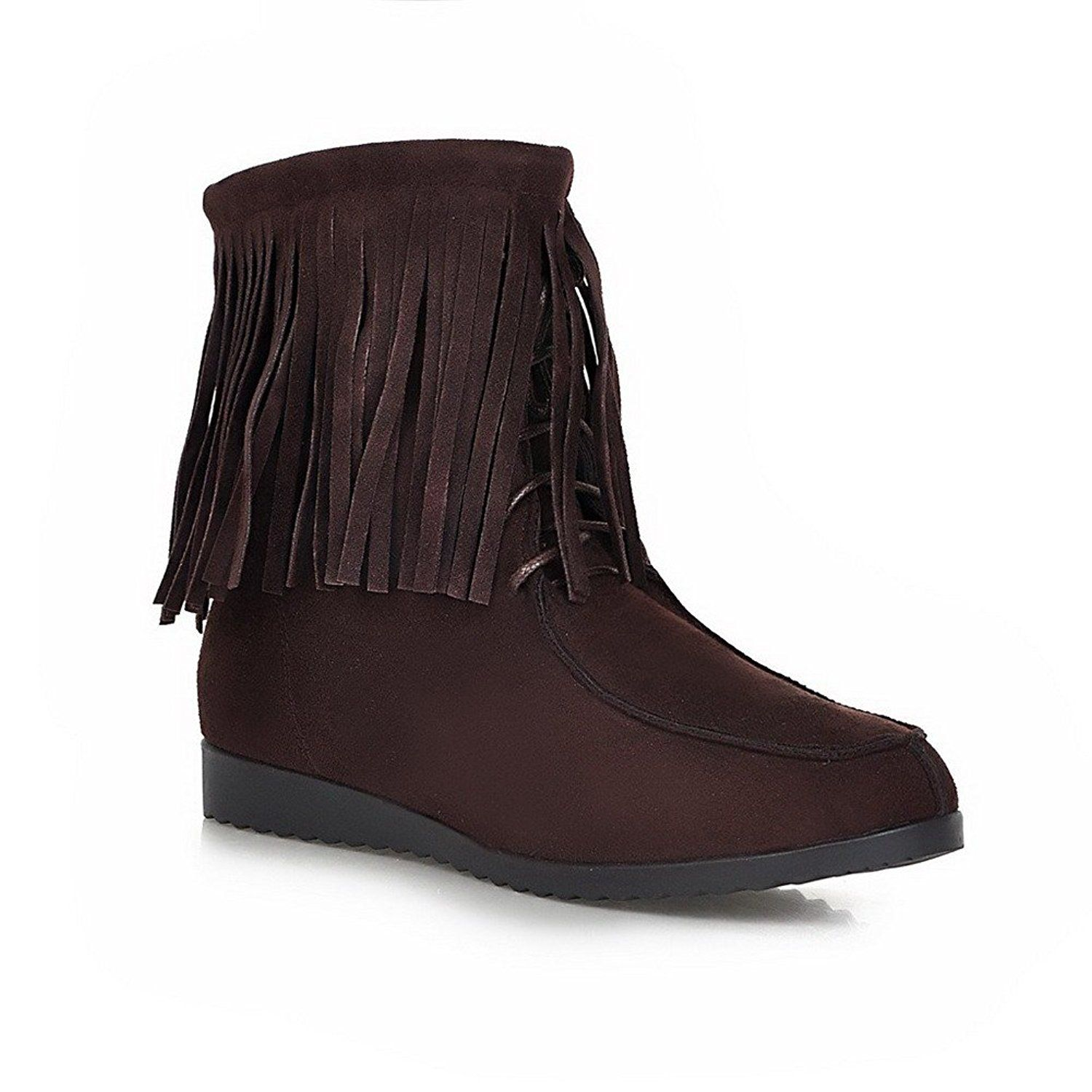 Women's Frosted Zipper Round Closed Toe Kitten-Heels Low-Top Boots with Tassels