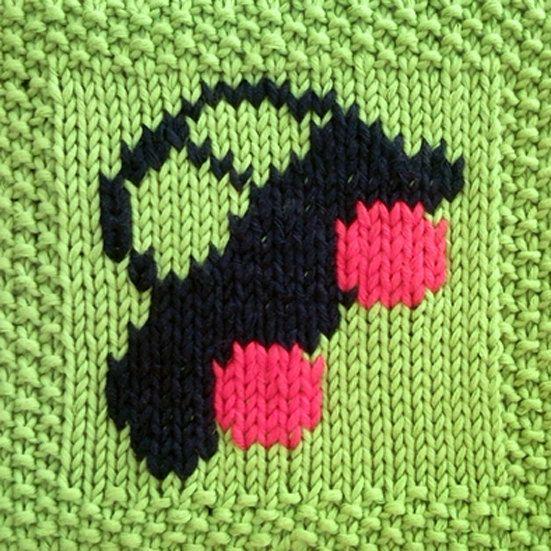 Pdf Knitting Pattern Car Motif Afghan Blanket Square Instant