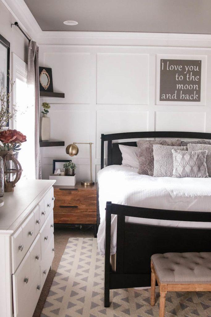 master bedroom with white board and batten wallhouseofroseblog