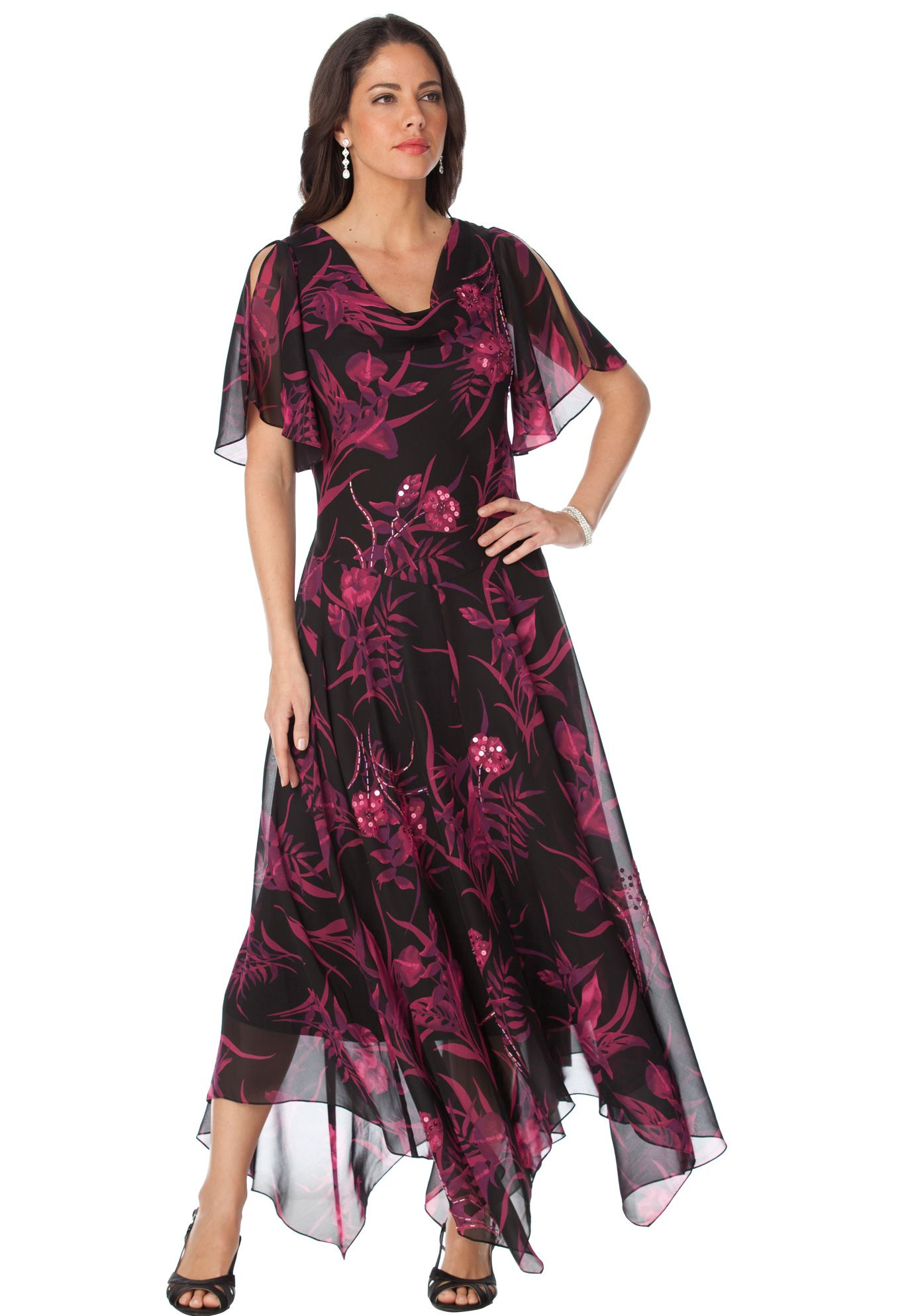 Floral Beaded Fit and Flare Gown   Plus Size Special Occasion ...