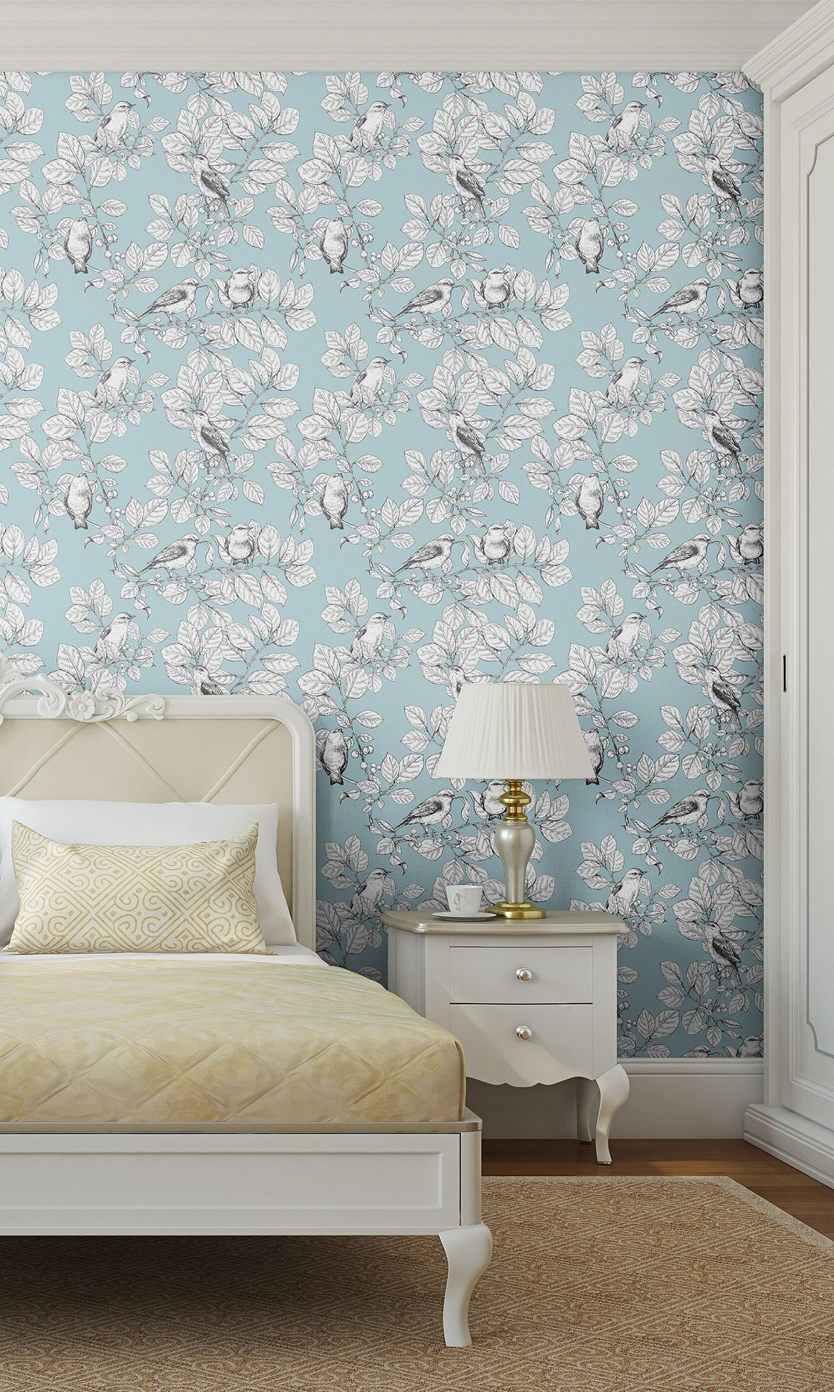 Blue Floral Animal Fabric Removable Wallpaper 6380 (With