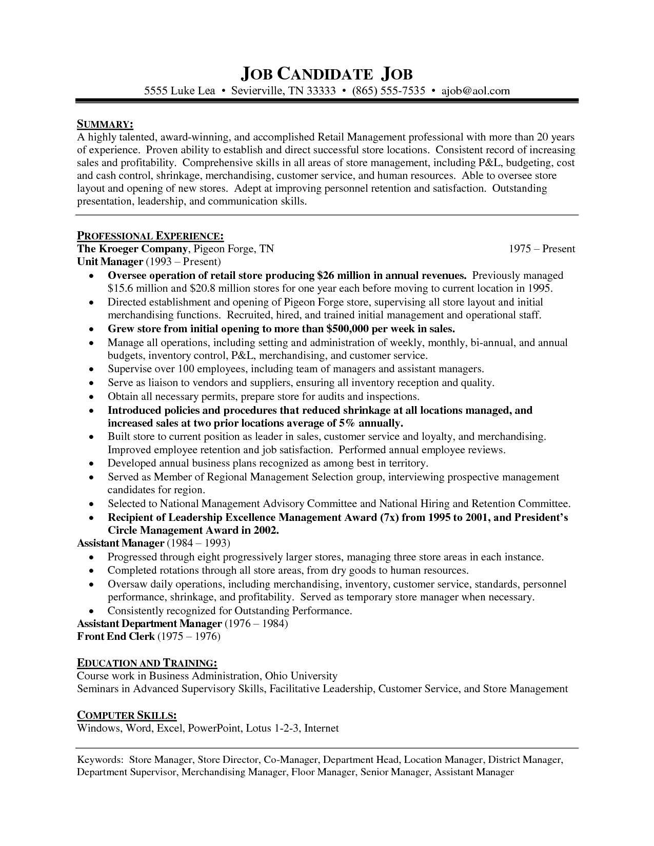Assistant Manager Resume Format Alluring Retail Department Store Manager Resume  Vision Specialist  Good .
