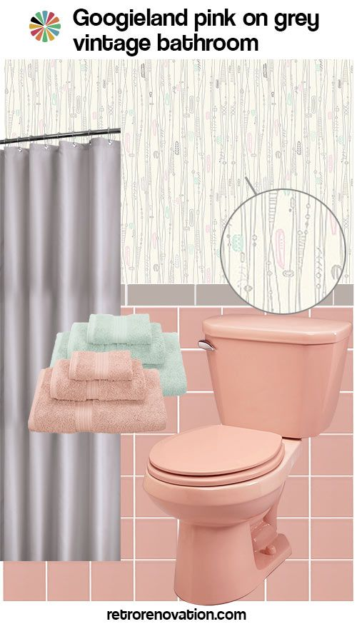 12 ideas to decorate a pink and gray vintage bathroom retro mid century vintage bathroom. Black Bedroom Furniture Sets. Home Design Ideas