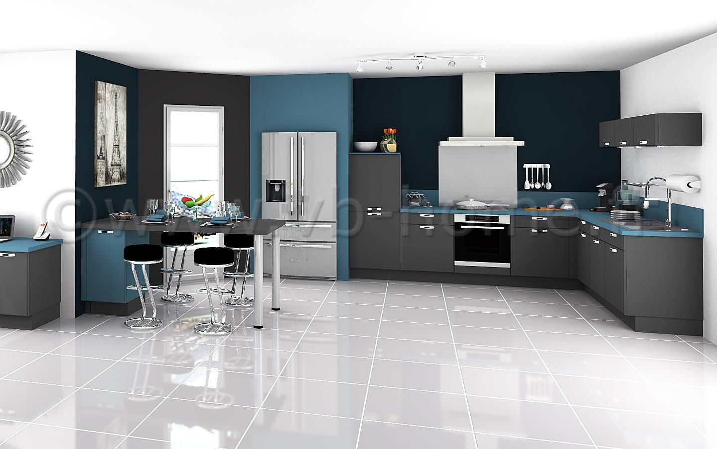 grande cuisine ouverte moderne avec fa ades gris bleu. Black Bedroom Furniture Sets. Home Design Ideas