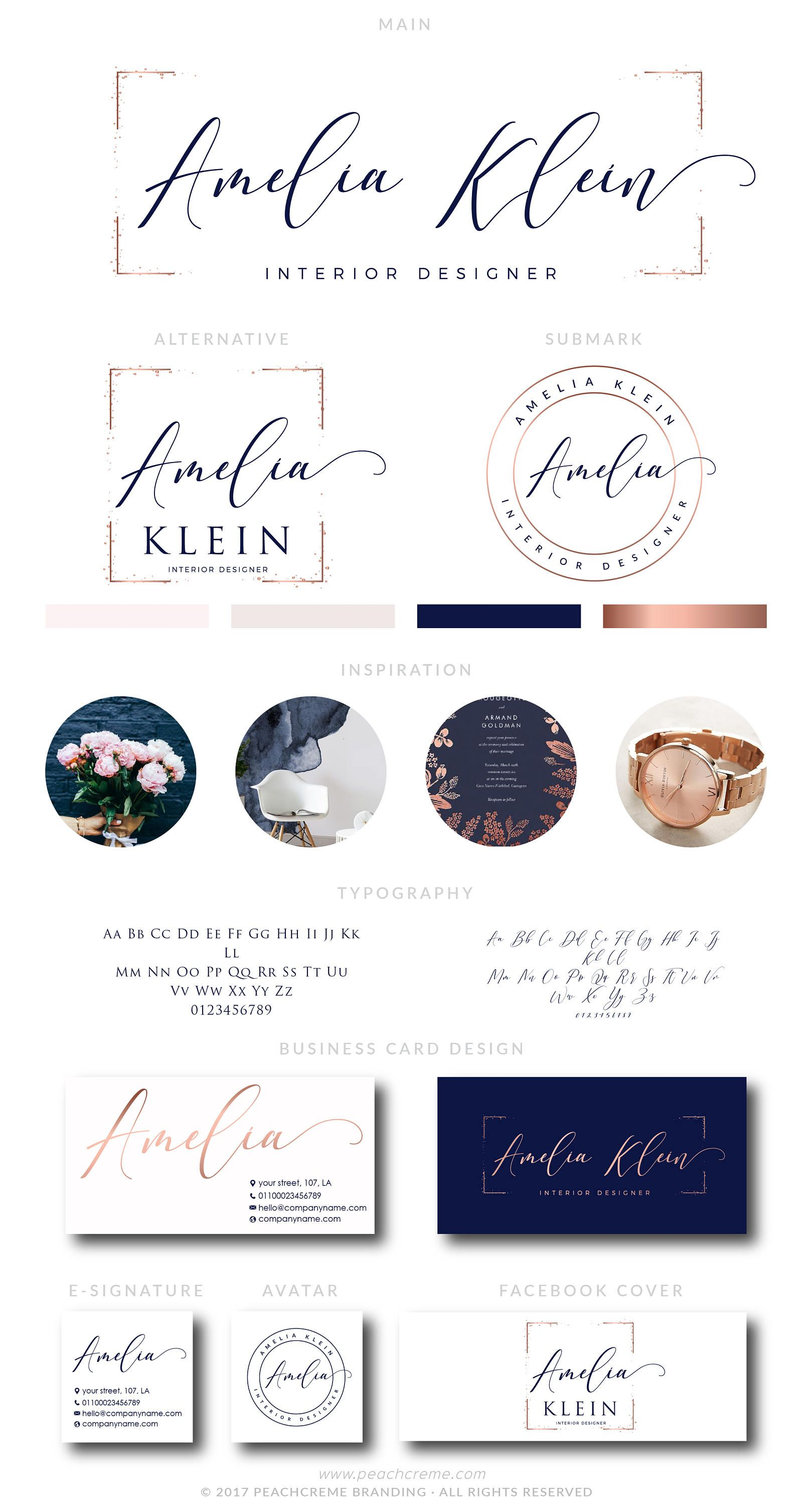 Branding kit, Rose Gold Interior Logo Design, Rose Gold Premade ...