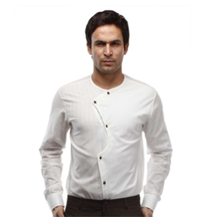 Mens Dress Casual Shirt Cross Design