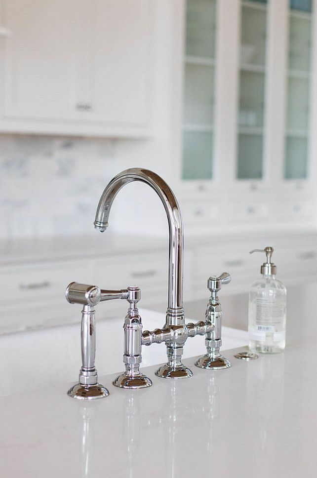 Rohl Polished Nickel Country Kitchen Three Leg Bridge Faucet