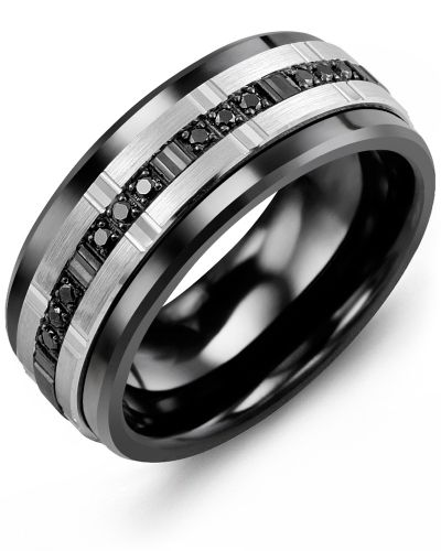 d7c4dc528 Men's Trio Black Diamonds Wedding Ring in Ceramic, White/Black Gold, and  Black Diamonds from the Monochrome Collection | MADANI Rings
