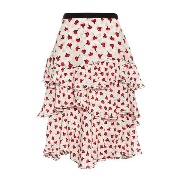 Oscar De La Renta Carnation-print silk-georgette skirt ($1,190) ❤ liked on Polyvore featuring skirts, red white, patterned skirt, red skirt, print skirt, floral skirt и floral knee length skirt
