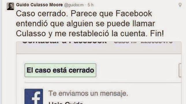 Facebook elimina la cuenta de un usuario por llamarse Guido culasso