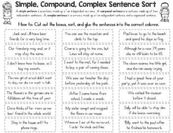 simple compound and complex sentence sort