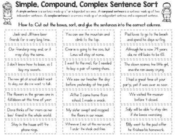 simple compound and complex sentence sort kate upton pinterest complex sentences. Black Bedroom Furniture Sets. Home Design Ideas