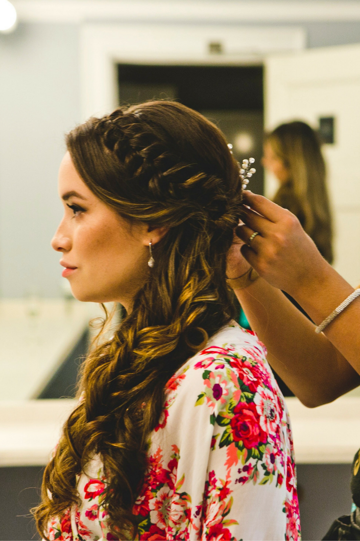 So Happy With How This Romantic Braided Wedding Hairstyle Turned Out And So Was The Bride The Cascading Curl Braided Hairstyles Easy Boho Braids Hair Styles