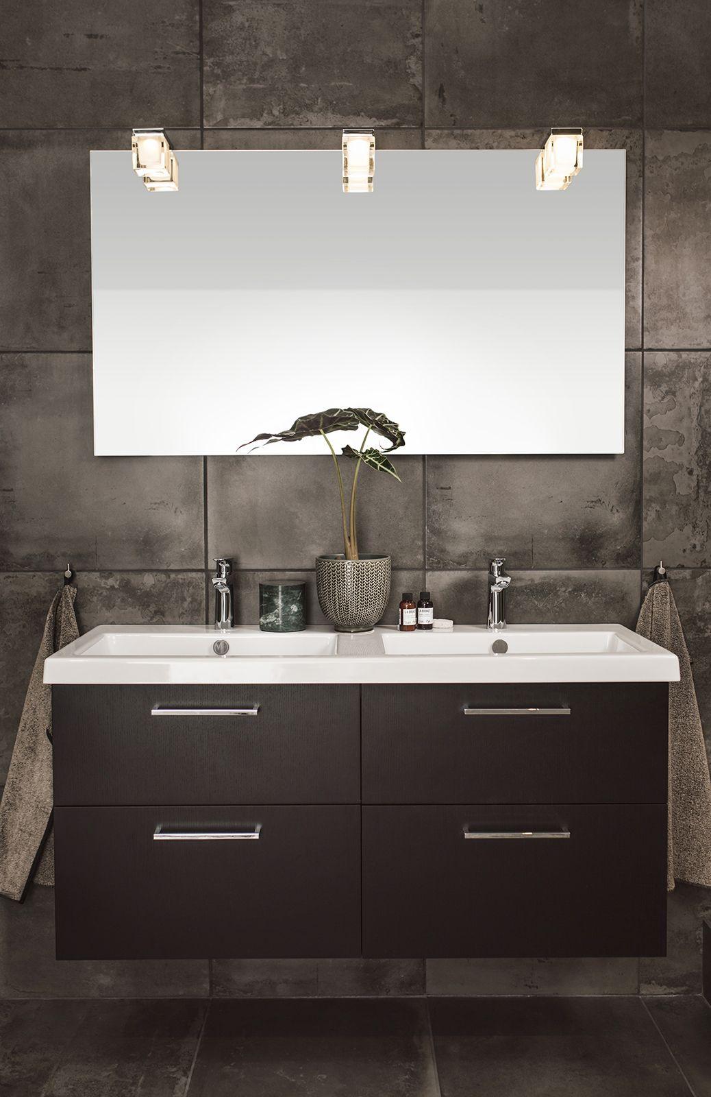 Soul kommod 1200 svart ekfanér lådfront Plain och handfat Sharp i porslin Soul spegel 1200 med