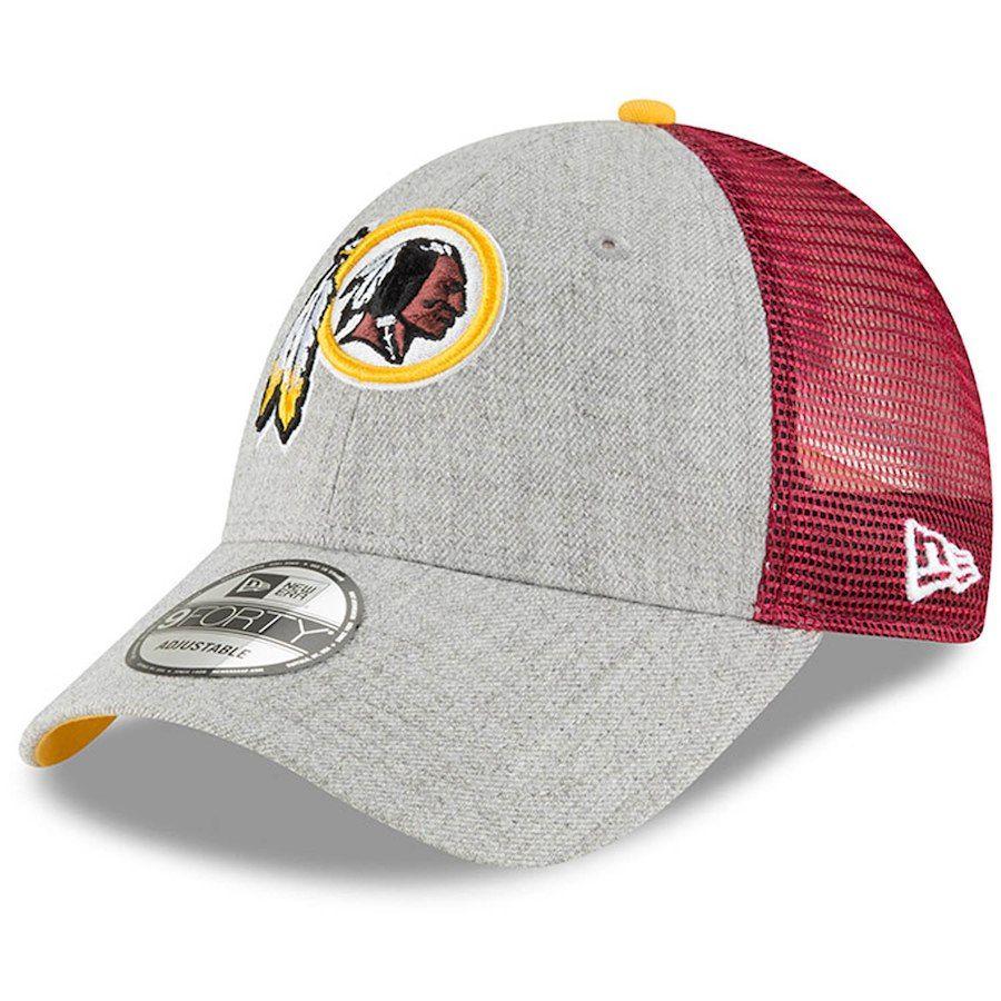 Men s Washington Redskins New Era Heathered Gray Burgundy Turn 9FORTY  Adjustable Snapback Hat 879f8a43a08b