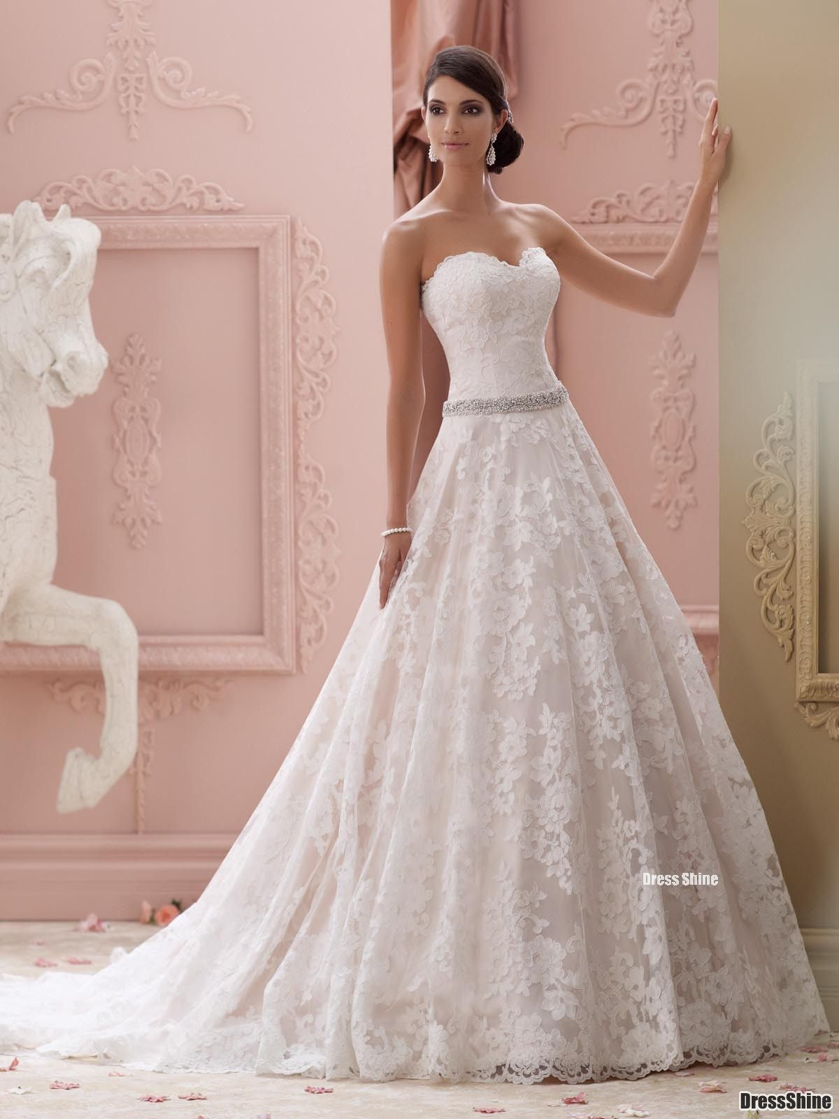 Strapless allover re-embroidered lace over satin ball gown wedding ...