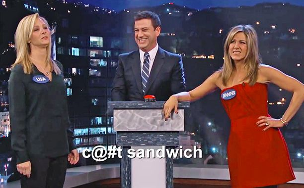 Lisa Kudrow and Jennifer Aniston spent five minutes cursing at each other last night, and it was all captured onJimmy Kimmel Live.