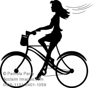 Clip Art Image Of A Girl Riding A Bike Silhouette Acclaim Stock
