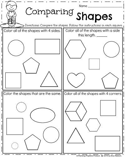 Kindergarten Shapes Worksheet For Spring Comparing Shapes Shapes Worksheet Kindergarten Spring Worksheets Kindergarten Shapes Kindergarten