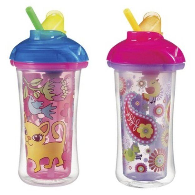 Munchkin 10oz Click Lock Insulated Straw Cup 2 Pack Reviews Questions And Answers Influenster Insulated Straw Cup Sippy Cup Cute Water Bottles