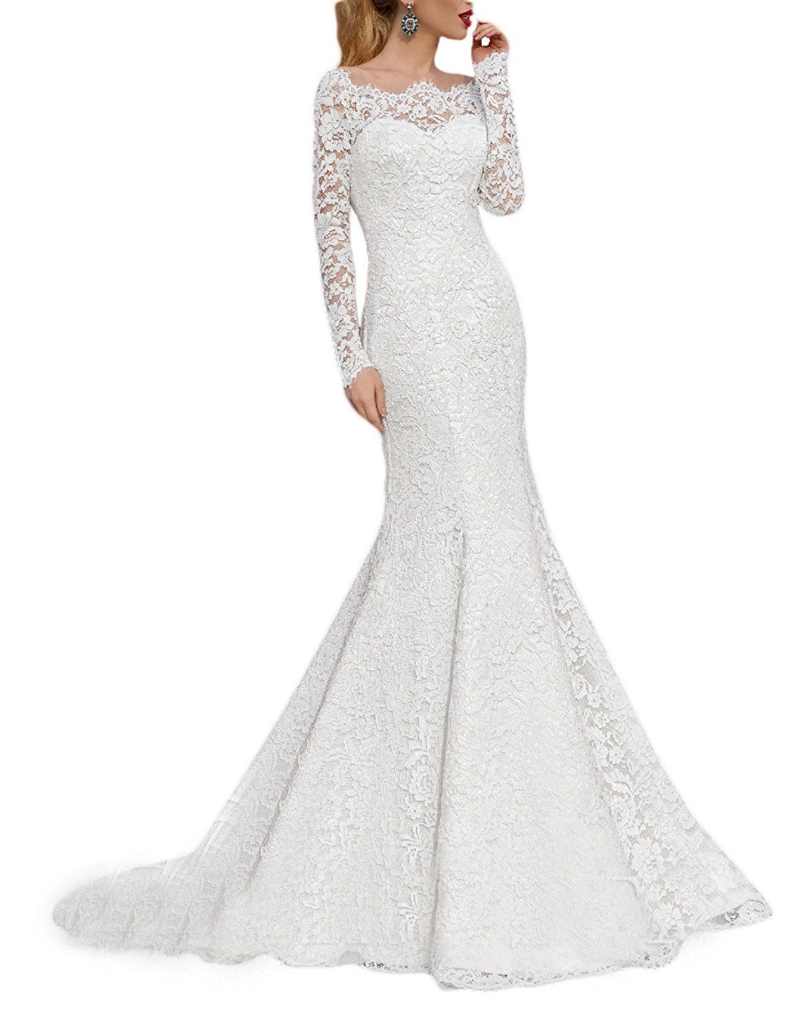ef43df05dfb9 RightBride Womens White Lace Mermaid Wedding Dresses for Bride Long Sleeves  Boat Neck Bride Dress 2017 Size -- You can find more details by visiting  the ...