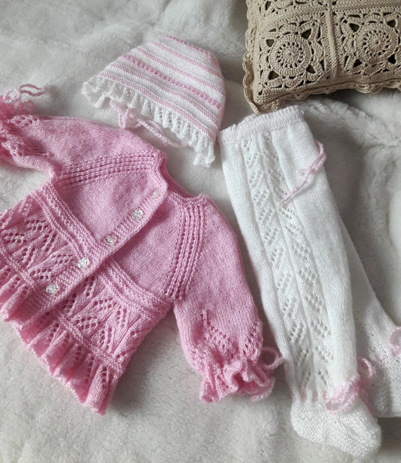 516abc0c7 Knitted newborn outfit white and pink wool yarn First baby knitted ...