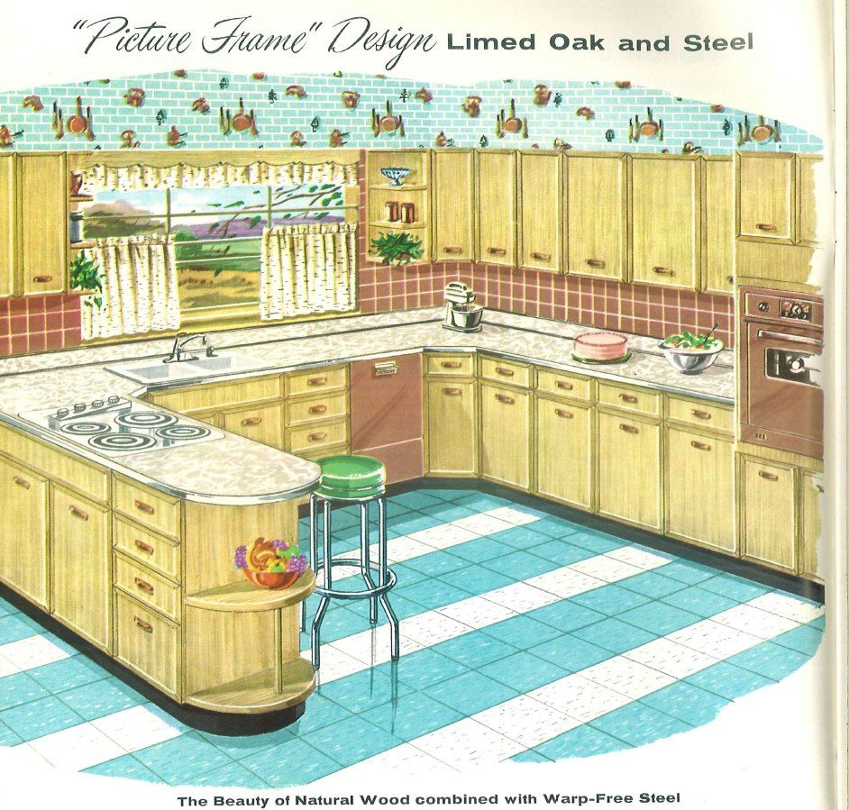 Sears Roebuck Co 1958 Kitchen Book What I Like Here Striped Floor Rounded End On The Peninsula Vintage House Retro Kitchen Retro Renovation