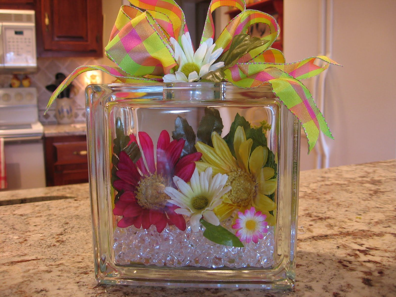Glass block crafts projects - Fill Them With Flowers And Glass Stones Its Endless What You Can Do