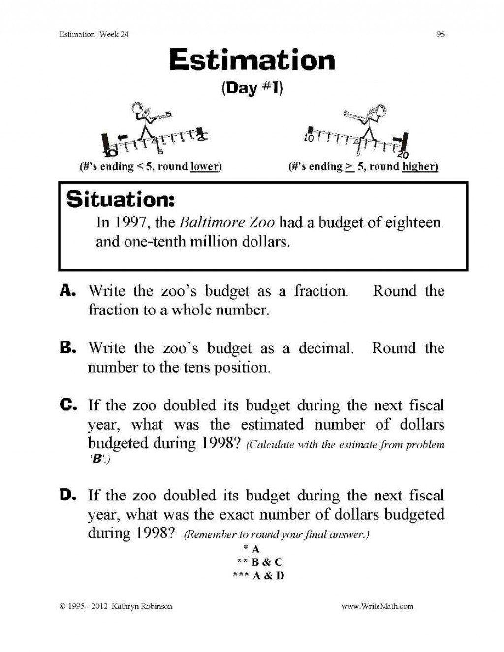 Estimation Maths Worksheets Math Estimation Worksheets In