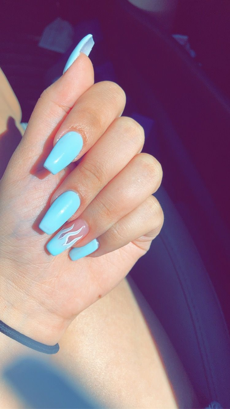 Blue Flame Nails In 2020 Blue Acrylic Nails Acrylic Summer Nails Coffin Pretty Acrylic Nails