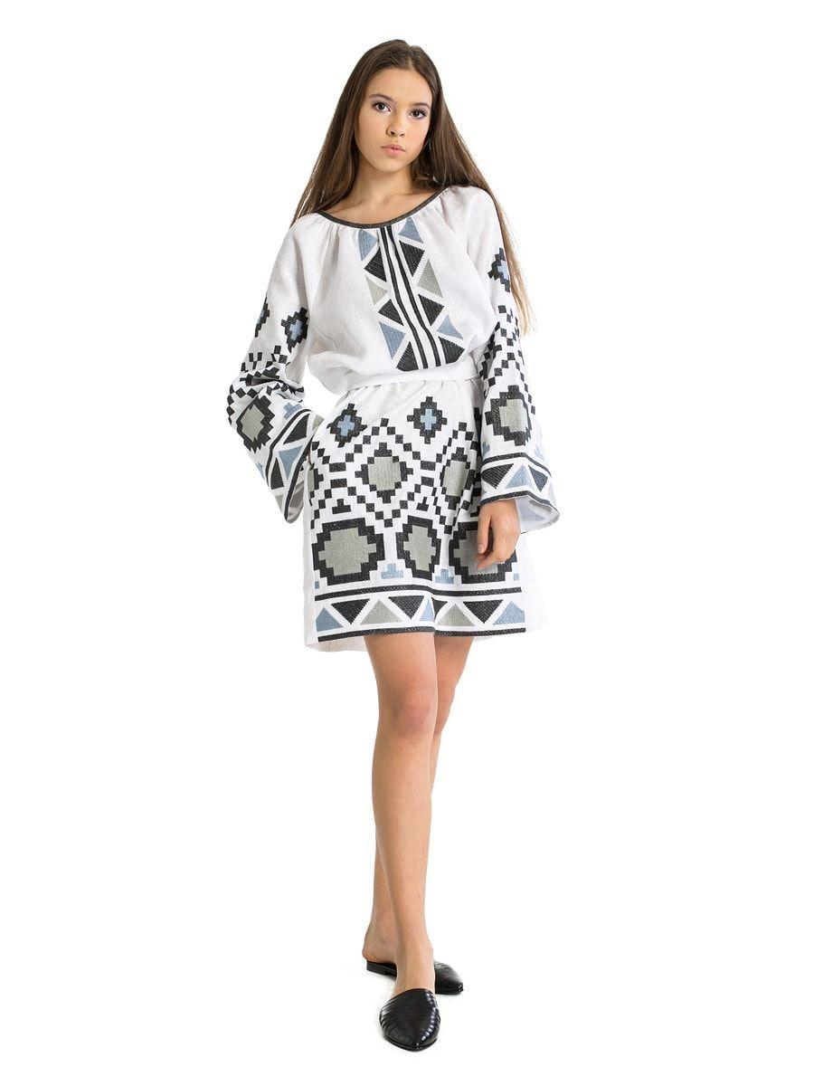 9d0a93df40e168 Біла лляна сукня з масивною геометричною вишивкою ETHNO6 | cloths ...