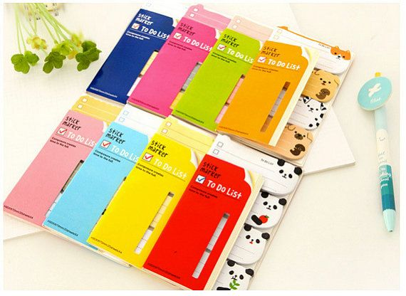 Korean Cute Animals Sticky Notes Markers To-do List memo Stickers Post-it Filofax 8 styles by alicemolds on Etsy