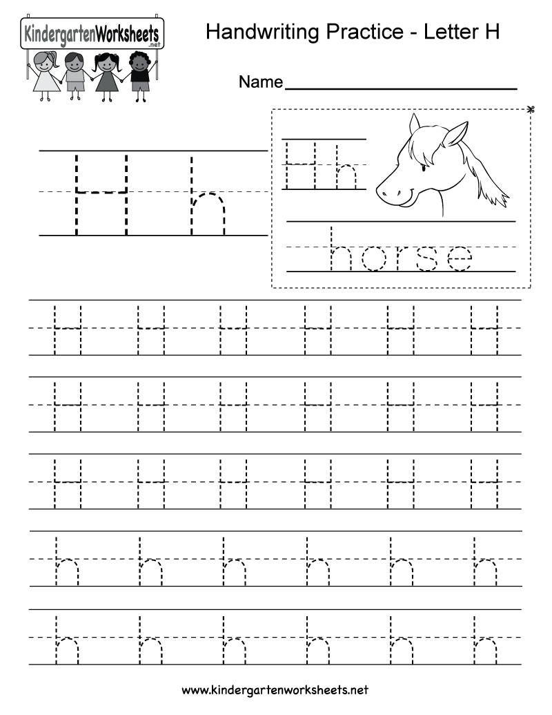 Letter H Writing Practice Worksheet This Series Of Handwriting Alphabet Worksheets Can Also Be Cut Out To Make An Original Booklet Or Cards