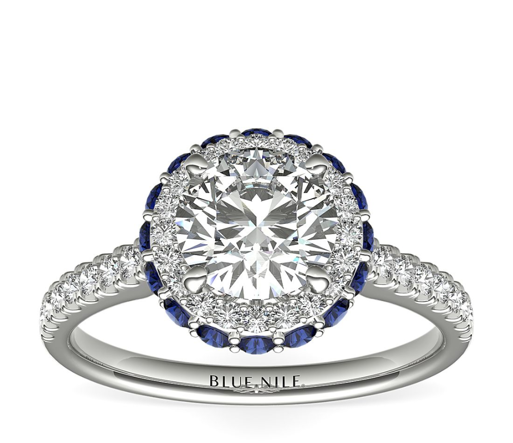 Hidden Sapphire Halo Diamond Engagement Ring in 14k White Gold (1/3 ct. tw.)   Blue Nile