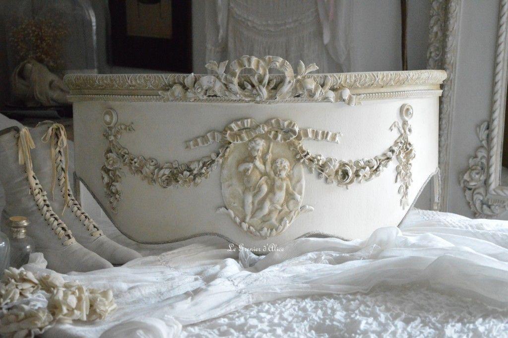 Ciel de lit romantique et shabby chic ciel de lit patiné ciel de lit ...