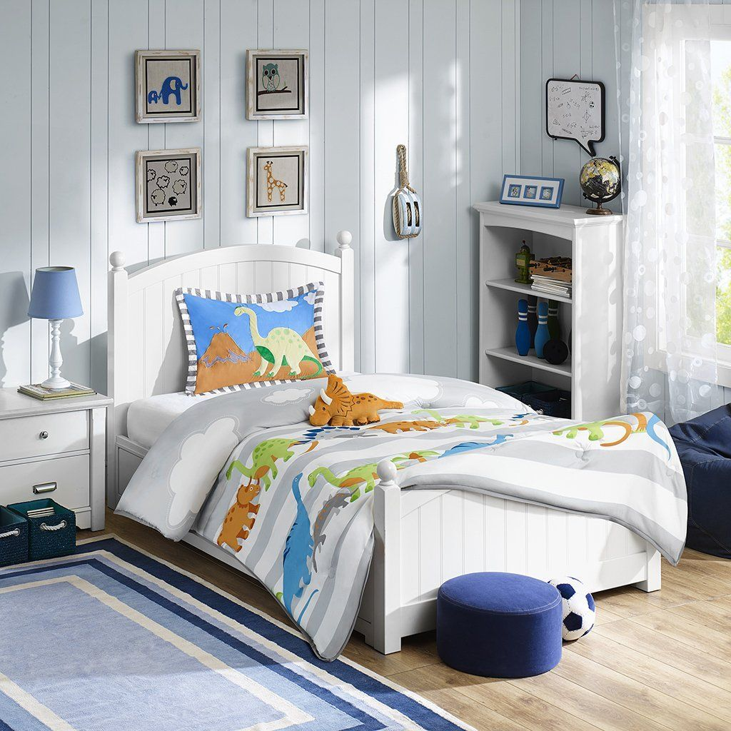 Blue, Green & Orange Dinosaurs Boys Twin Comforter, Sham & Toss Pillow + BONUS HANDMADE WAX MELT! //Price: $87.69 & FREE Shipping //     #bedding