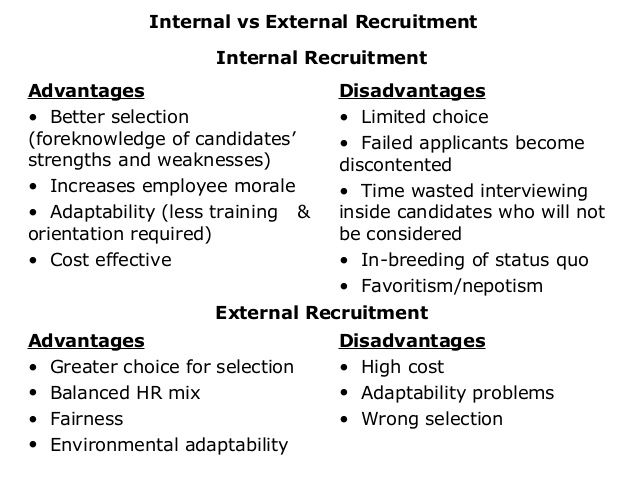 differences between internal and external recruitment essay Advantages and disadvantages of both types of strategies were looked into and found that majority of the organisations preferred internal recruitment strategy compared to external recruitment strategy.